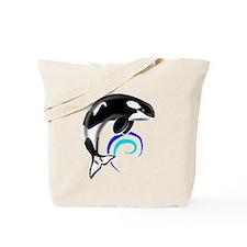 Orca Whale Dark Blue Waves Tote Bag