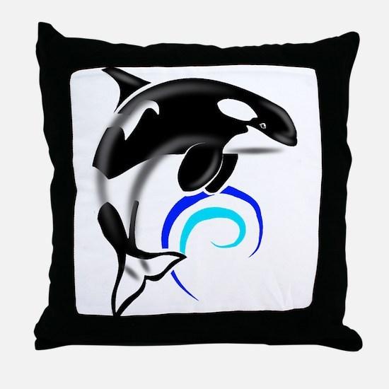 Orca Whale Dark Blue Waves Throw Pillow