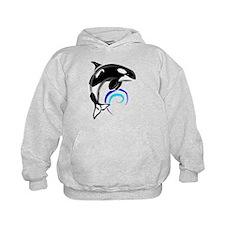 Orca Whale Dark Blue Waves Hoodie