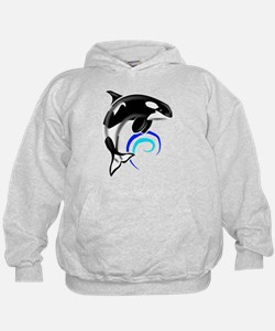 Orca Whale Dark Blue Waves Hoodie