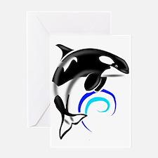 Orca Whale Dark Blue Waves Greeting Card