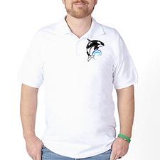 Orca Whale Dark Blue Waves T-Shirt