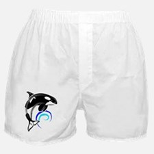 Orca Whale Dark Blue Waves Boxer Shorts
