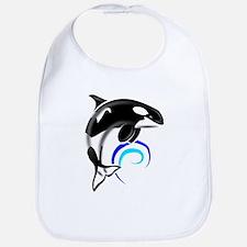 Orca Whale Dark Blue Waves Bib