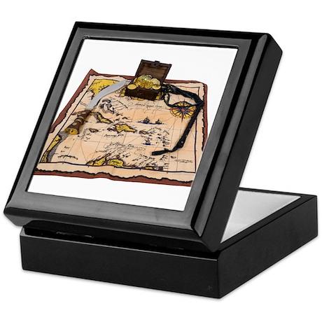 Pirate Map Treasure Keepsake Box