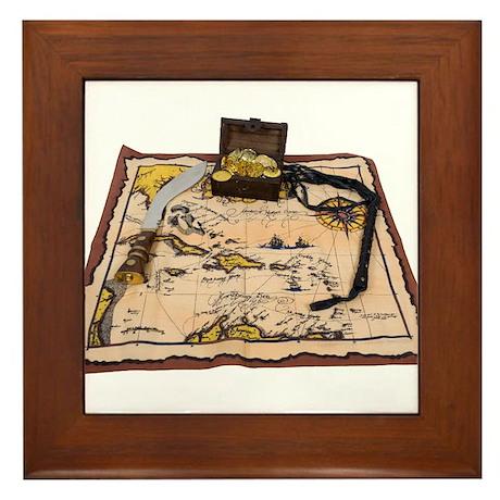 Pirate Map Treasure Framed Tile