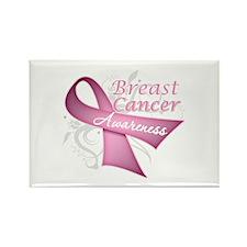 Floral Breast Cancer Rectangle Magnet
