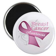 """Floral Breast Cancer 2.25"""" Magnet (100 pack)"""