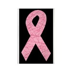 Breast Cancer Ribbon Art Rectangle Magnet (100 pac