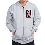 Breast Cancer Ribbon Art Zip Hoodie