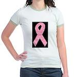 Breast Cancer Ribbon Art Jr. Ringer T-Shirt