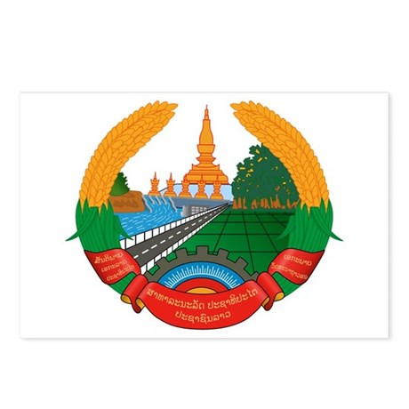 Laos Coat of Arms Emblem Postcards (Package of 8)