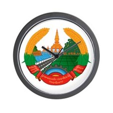 Laos Coat of Arms Emblem Wall Clock