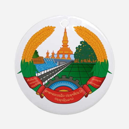 Laos Coat of Arms Emblem Ornament (Round)