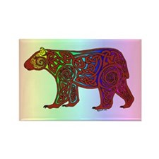 Rainbow Celtic Bear Rectangle Magnet