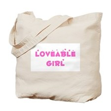 Loveable Girl with Hearts Tote Bag
