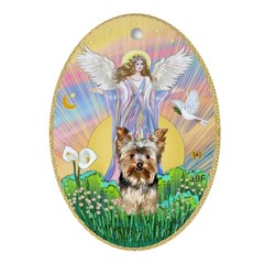 Angel blessing a Yorkshire Terrier Ornament (Oval)