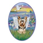 Lilies - Yorkshire Terrier Angel Ornament (Oval)