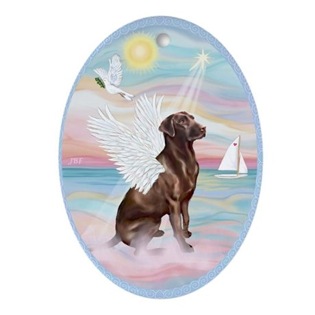 Heavenely Sea - Labrador (Choc.) Ornament (Oval)