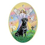 Angel Blessing Black Labrador Ornament (Oval)