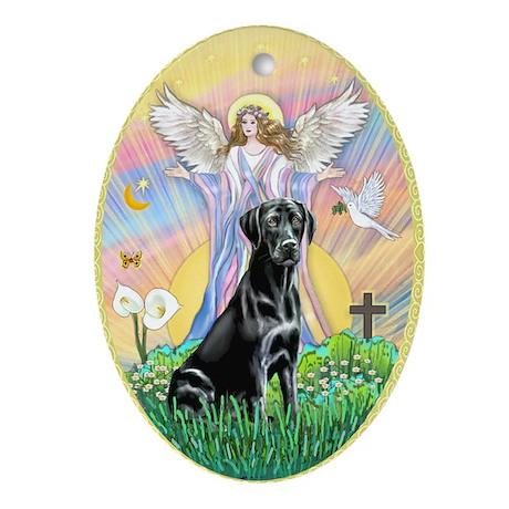 Angel Blessing Black Labrador Ornament (Oval)