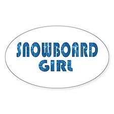 Snowboard Girl Oval Bumper Stickers