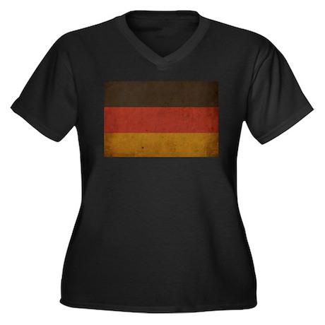 Vintage Germany Flag Women's Plus Size V-Neck Dark