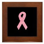 Breast Cancer Ribbon Art Framed Tile