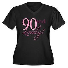 90 And Lovely Women's Plus Size V-Neck Dark T-Shir