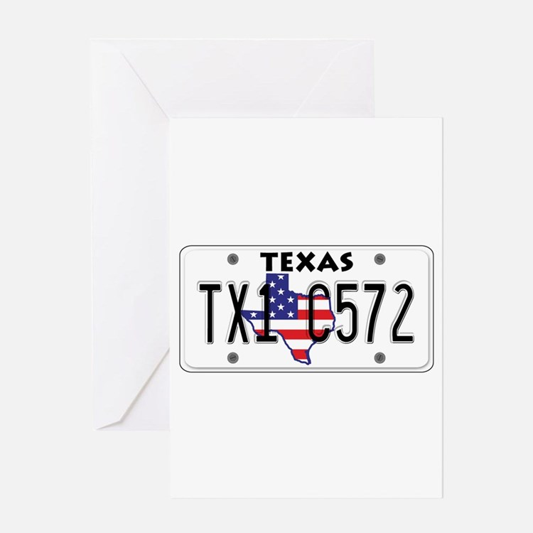 TX USA License Plate Greeting Card