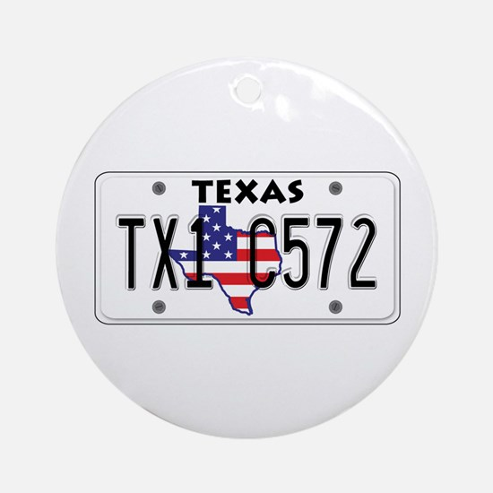 TX USA License Plate Ornament (Round)