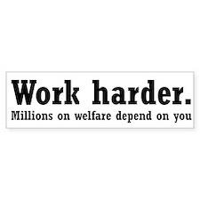 Work harder. Bumper Car Sticker