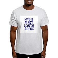 Single Malt Scotch Rocks Ash Grey T-Shirt