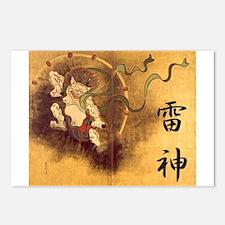 Japanese Raijin Postcards (Package of 8)