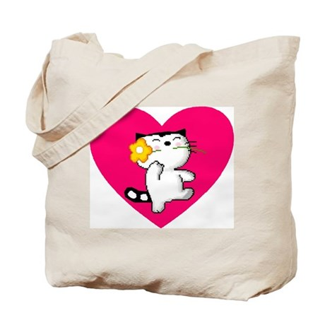 Dancing Cat With Flower Tote Bag