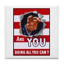 Are You Doing All You Can Vintage Poster Tile Coas