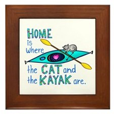 Cat and Kayak Framed Tile