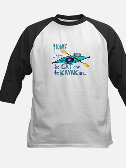 Cat and Kayak Kids Baseball Jersey