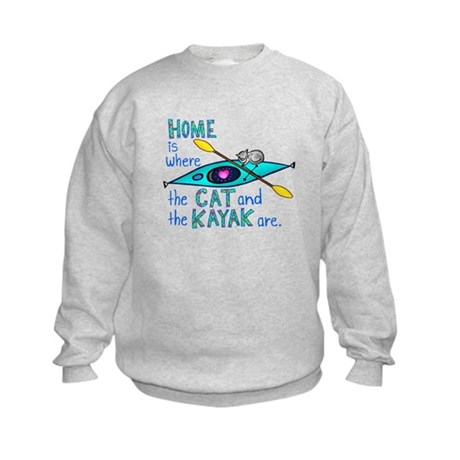 Cat and Kayak Kids Sweatshirt