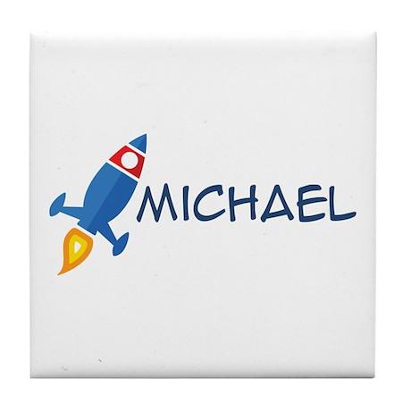 Michael Rocket Ship Tile Coaster