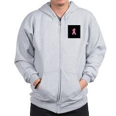Breast Cancer Ribbon Pinstrip Zip Hoodie