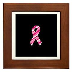 Breast Cancer Ribbon Pinstrip Framed Tile