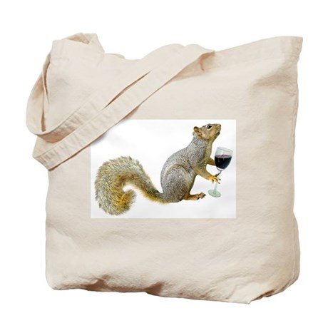 CafePress Squirrel with Wine Tote Bag