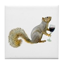 Squirrel with Wine Tile Coaster