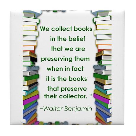Walter Benjamin on Books Tile Coaster