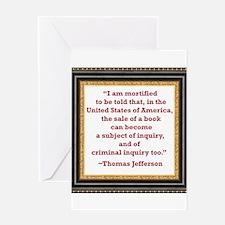 Thomas Jefferson on book sale Greeting Card