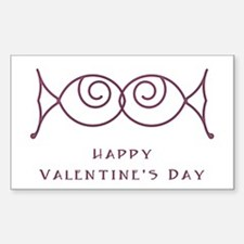 Kissing Fish Valentine's Day Rectangle Decal