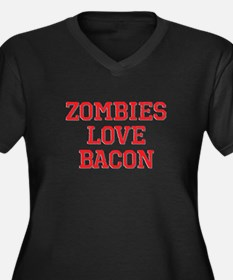 Zombies Love Bacon Women's Plus Size V-Neck Dark T