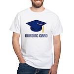 Blue Nursing Grad White T-Shirt