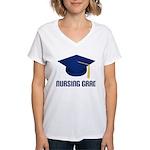 Blue Nursing Grad Women's V-Neck T-Shirt